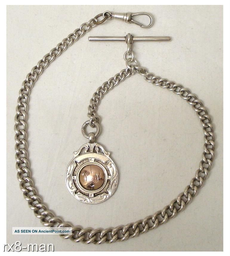 1924 Vintage Solid Silver Pocket Watch Chain + T Bar & Silver 1933 Watch Fob Pocket Watches/ Chains/ Fobs photo