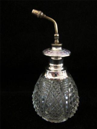 Antique Deco 1920s Cut Glass Silver Enamelled Perfume Atomiser Bottle photo