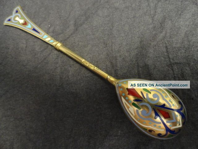 Imperial Russian Silver 88 Champleve Enamel Spoon By Ivan Khlebnikov Russia photo