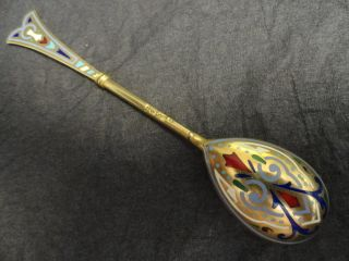 Imperial Russian Silver 88 Champleve Enamel Spoon By Ivan Khlebnikov photo