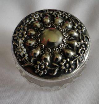 Antique Sterling Repousse Floral Lid Crystal Vanity Jar Stamped Sterling H419 photo