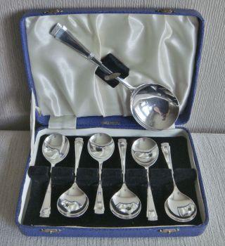 Quality Vintage Art Deco Silver Epns Cased Fruit & Serving Spoons Set photo