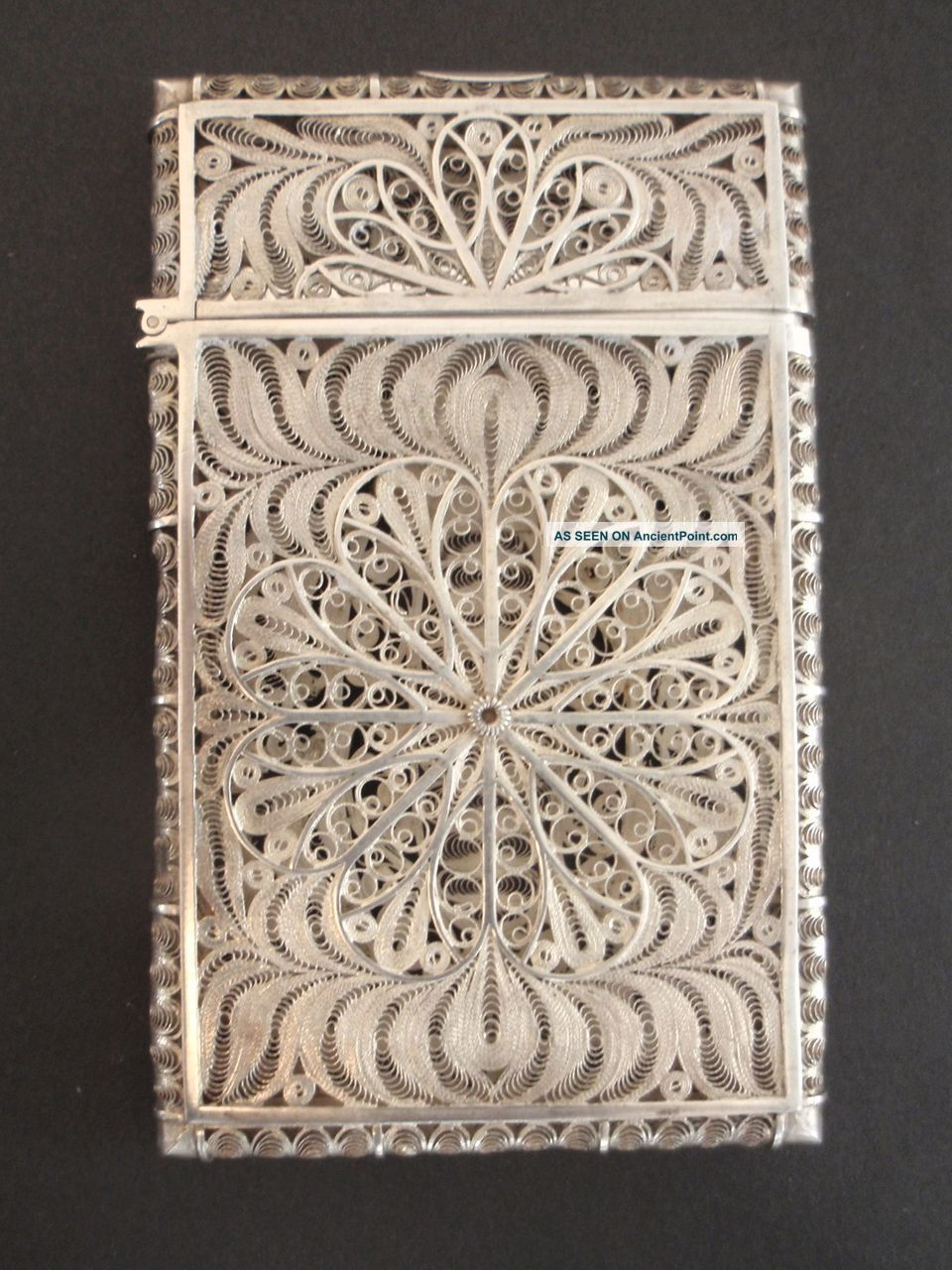 Gorgeous Antique Ornate Filigree Sterling Silver Wire - Wrap Card Case Card Cases photo