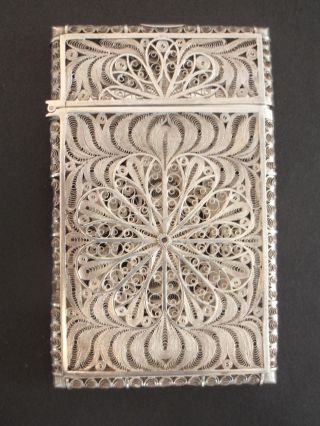 Gorgeous Antique Ornate Filigree Sterling Silver Wire - Wrap Card Case photo