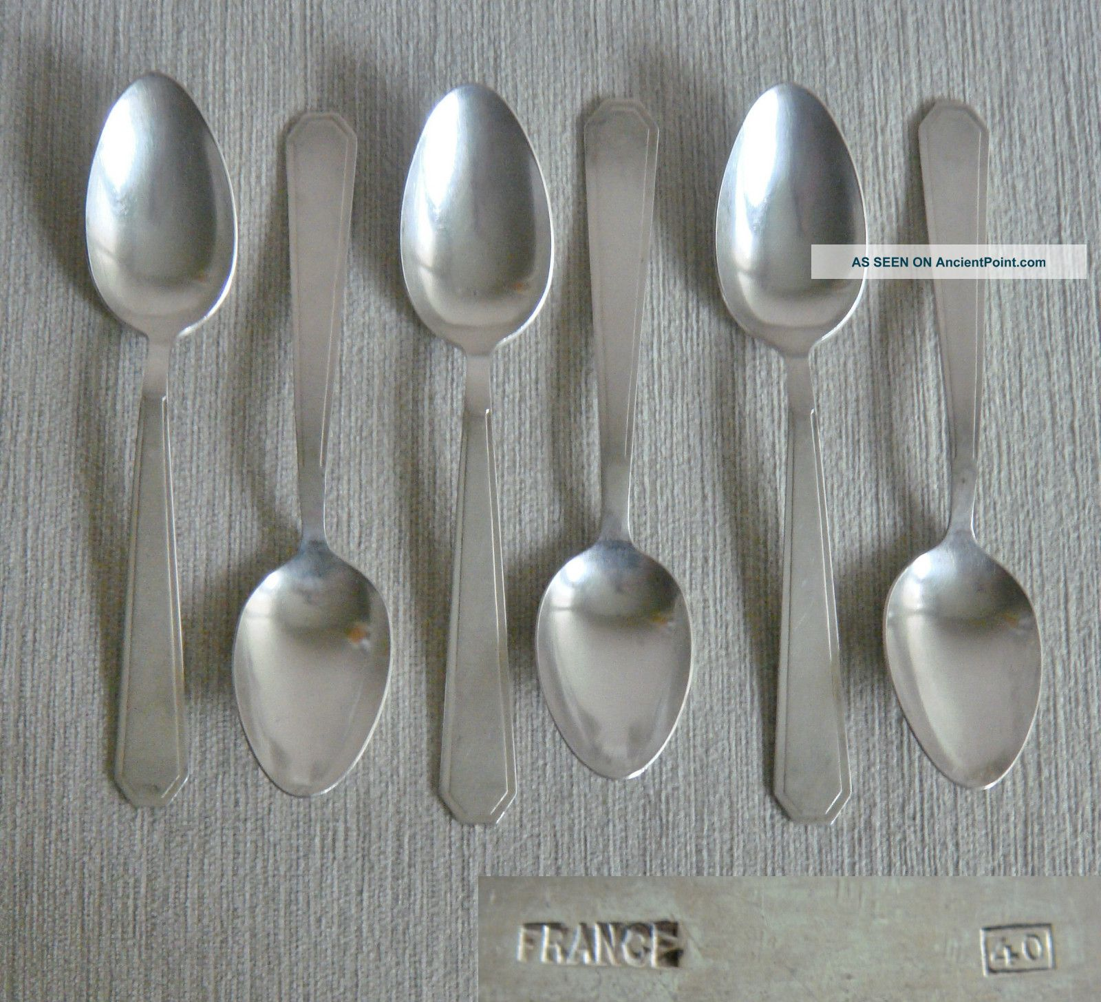 12 Fine Quality Vintage French Art Deco Silver P Large Dessert Forks & Spoons Other photo
