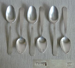 12 Fine Quality Vintage French Art Deco Silver P Large Dessert Forks & Spoons photo