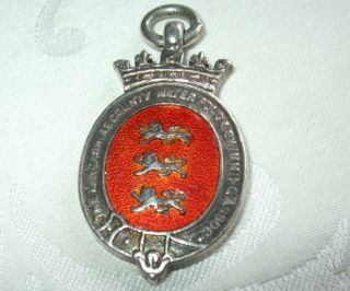 Antique Silver Pocket Watch Fob Medal 13.  9 G Water Polo Swimming Fattorini 1925 photo