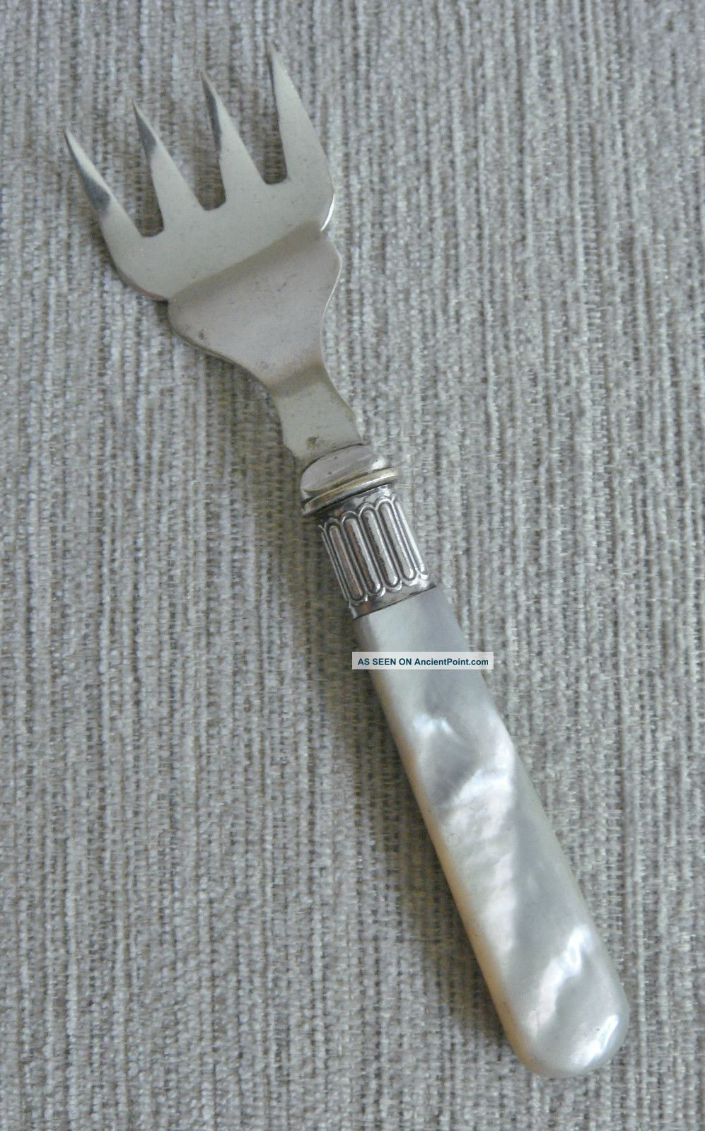 Rare Antique Victorian Mother Of Pearl Mop Ornate Silver Epns Sardine Fish Fork Other photo