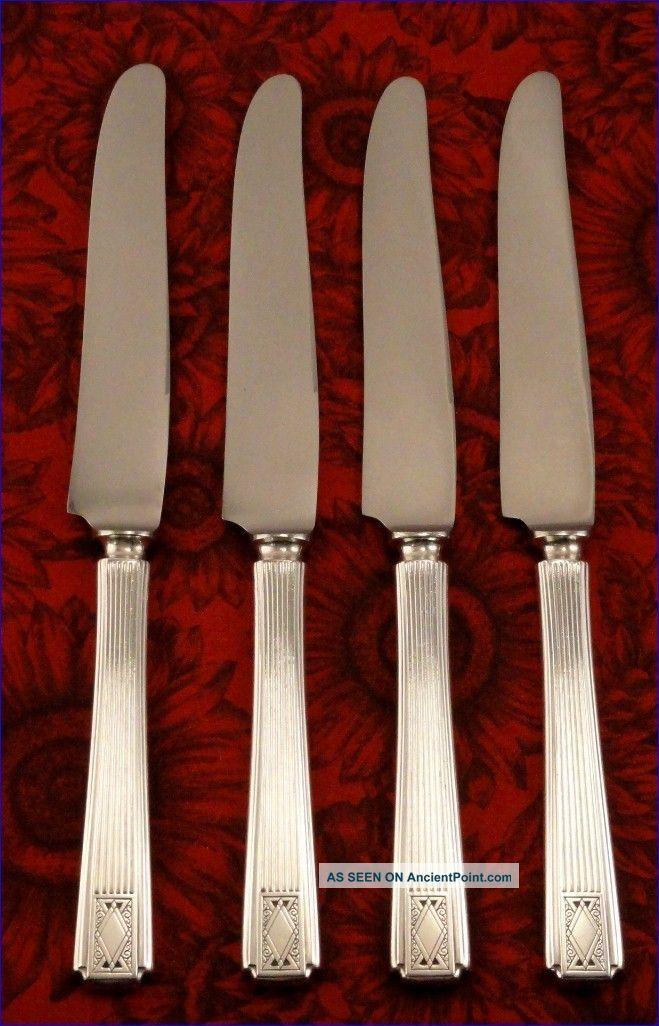 Rare Set 4 Community Noblesse 1930 Solid Handle Dinner Knives Vintage Art Deco Oneida/Wm. A. Rogers photo