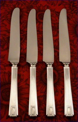 Rare Set 4 Community Noblesse 1930 Solid Handle Dinner Knives Vintage Art Deco photo