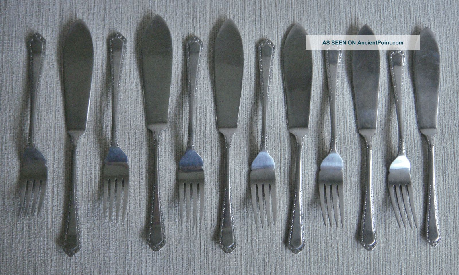 Quality Ornate Set Vintage Retro Universe Nickel Silver Fish Knives & Forks Other photo