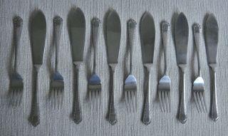 Quality Ornate Set Vintage Retro Universe Nickel Silver Fish Knives & Forks photo