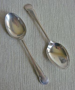 Quality Pair Vintage Art Deco Lascelles Heavy Silver Epns Table Serving Spoons photo