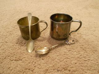 Antique/vintage Silver/silverplate Cups Wm.  A.  Rogers/oneida & Silverplate Spoons photo