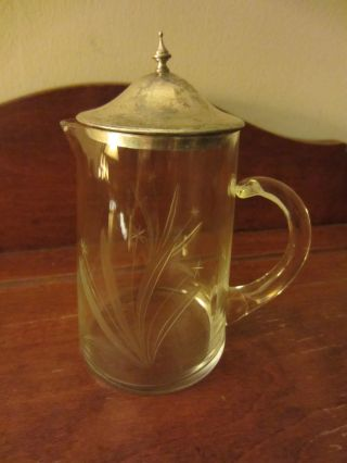Petite Etched Crystal Creamer/pitcher With Sterling Silver Lid Finial Starflower photo