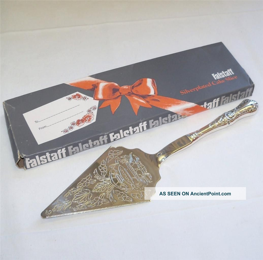 Vintage Falstaff Silver Plated Ornate Design Cake Slice In The Box Other photo