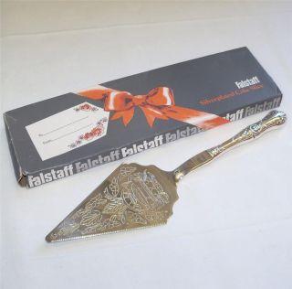 Vintage Falstaff Silver Plated Ornate Design Cake Slice In The Box photo