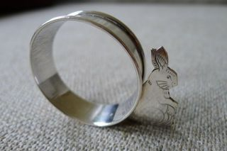 Antique Webster Sterling Silver Figural Bunny Napkin Ring photo