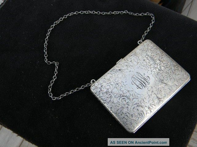 Antique Sterling Silver Fancy Bright Cut Ladys Purse Change Calling Card Holder Card Cases photo