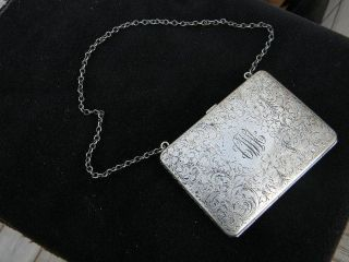 Antique Sterling Silver Fancy Bright Cut Ladys Purse Change Calling Card Holder photo