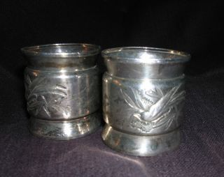 Pair Silverplate Aesthetic Japanese Style Napkin Rings Birds photo