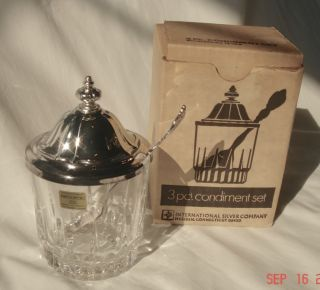 Vintage 3 Pc Condiment Set By International Silver Co In Box photo