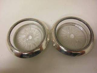 Frank Whiting Sterling Silver Crystal Coasters 925 Sale photo