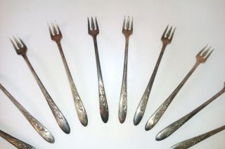 1957 Cherie By Carlton Silver Plated Cocktail Forks - Vintage Collectible photo