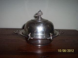 Antique Van Bergh Quadruple Silver Plate Butter Dish W/ Glass Insert 324 photo