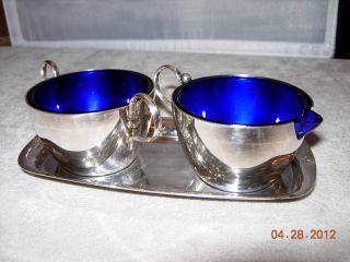 Silver And Cobalt Blue Cream & Sugar - Made In England photo