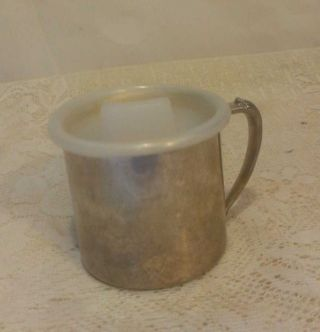 Vintage 80 ' S Oneida Silverplate Gold Wash Baby Cup With Lid Nwb photo