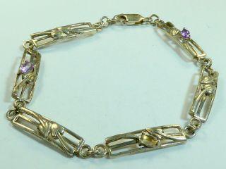 Vintage 925 Sterling Silver Bracelet Gem Set 7.  5g 7 3/4