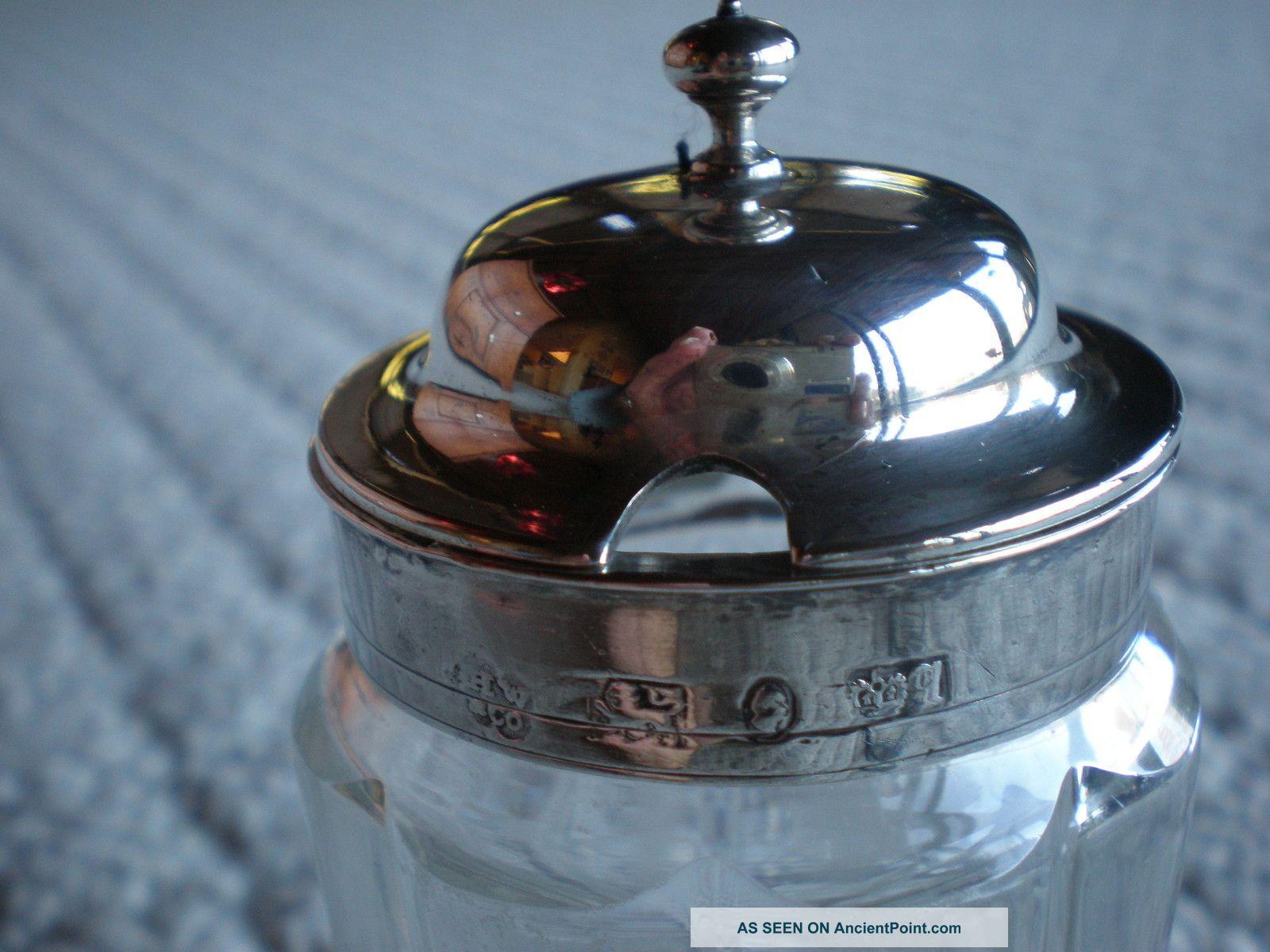 Sheffield Sterling Silver And Glass Mustard Jar 1800 ' S Mustard Pots photo