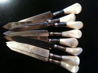 8 Antique Mother Of Pearl Fruit Knives Circa/ Early 1920 ' S photo