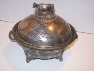 Vintage Simpson Hall Miller Co.  Butter Dish With Cow On Top photo