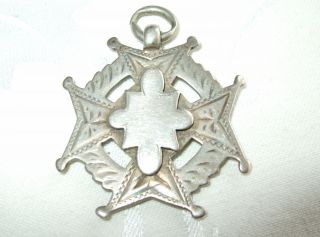 Victorian Antique Sterling Silver Pocket Watch Fob Medal 9.  9 Grams Dingley 1896 photo