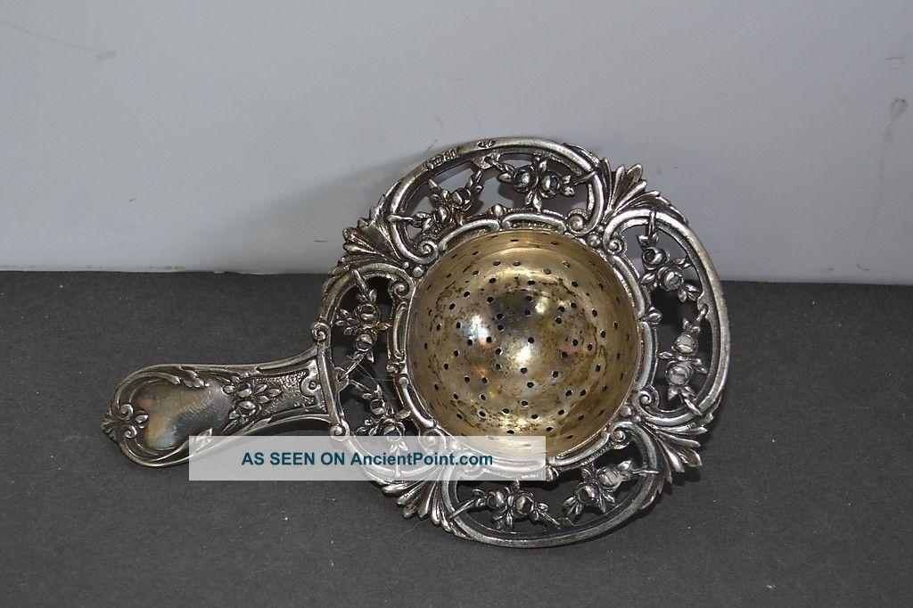 Silver Tea Strainer German Hallmarks 800 Johann Kurz Ornate Design Germany photo