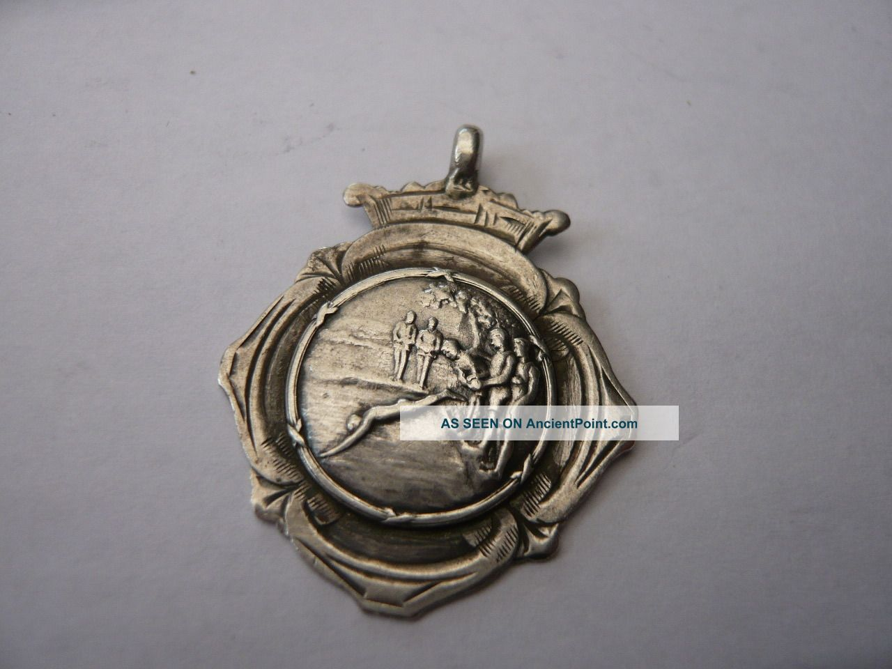 Good Vintage Silver Pocket Watch Chain Fob Medal Swimming Edwardian C 1913 Pocket Watches/ Chains/ Fobs photo