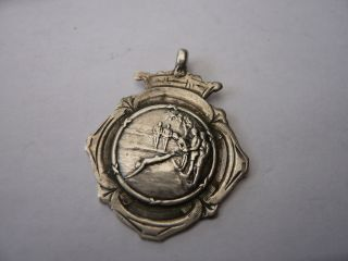 Good Vintage Silver Pocket Watch Chain Fob Medal Swimming Edwardian C 1913 photo