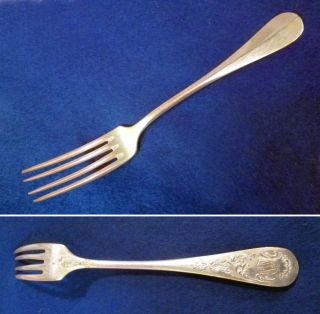 Antique French ' Metal Blanc ' Silver - Plated Dining Fork - 19c? photo