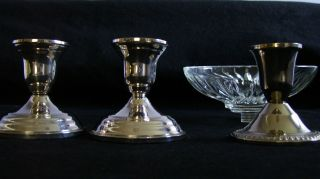 Pair Of 3 Inch Weighted Sterling Candlesticks W/ Bonus photo