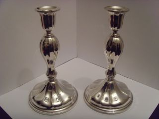 Stunning Pair Of Danish Silver Candlesticks Excellent Example photo