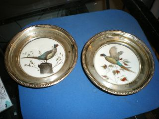 Two Antique Frank M.  Whiting Sterling Silver Pheasant China Coaster Serving Dish photo