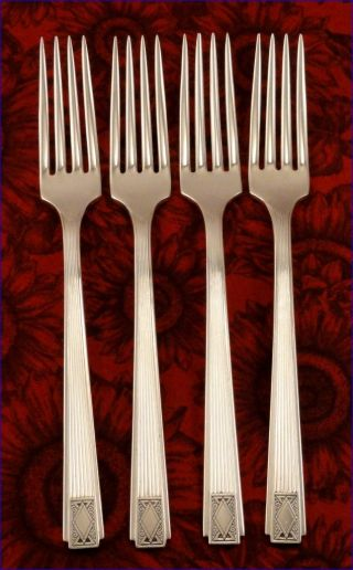 Set 4 Oneida Community Noblesse 1930 Dinner Forks Vintage Art Deco Silver Plate photo
