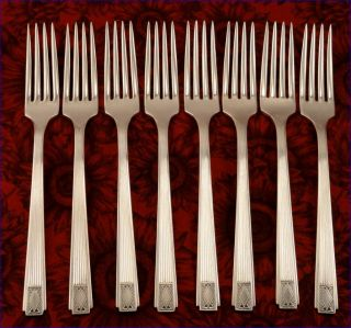 Set Oneida Community Noblesse 1930 Dinner Forks Vintage Art Deco Silver Plate photo