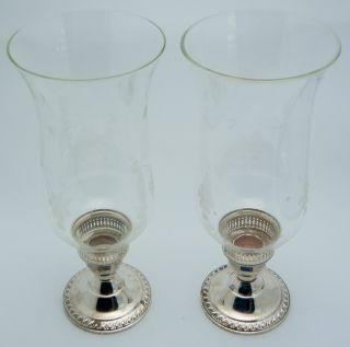 2 - Duchin Creation Sterling Silver / Glass Hurricane Candlesticks photo