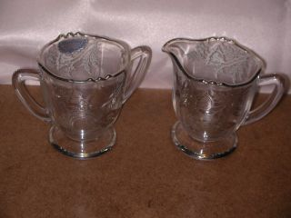 Silver City Crystal Creamer & Sugar With Sterling Silver Overlay photo