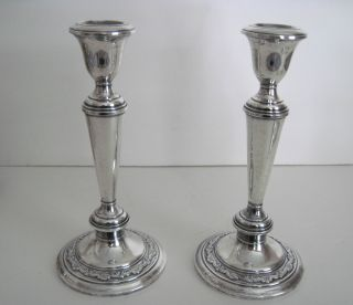 Matching Pr.  Vintage Gorham Sterling Silver Candlesticks photo