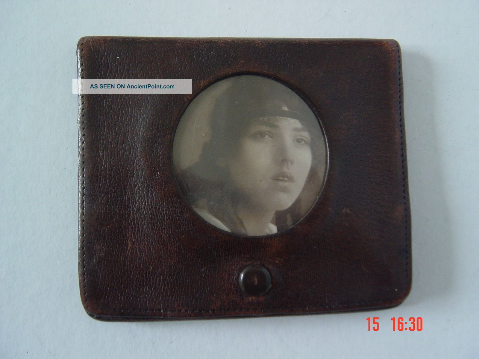 Antique Moroccan Leather Card Case With Photograph (sweetheart Gift) C 1930 ' S Card Cases photo