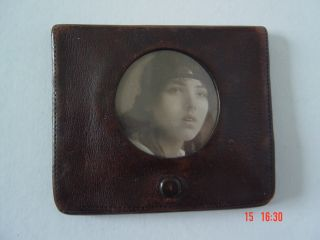 Antique Moroccan Leather Card Case With Photograph (sweetheart Gift) C 1930 ' S photo